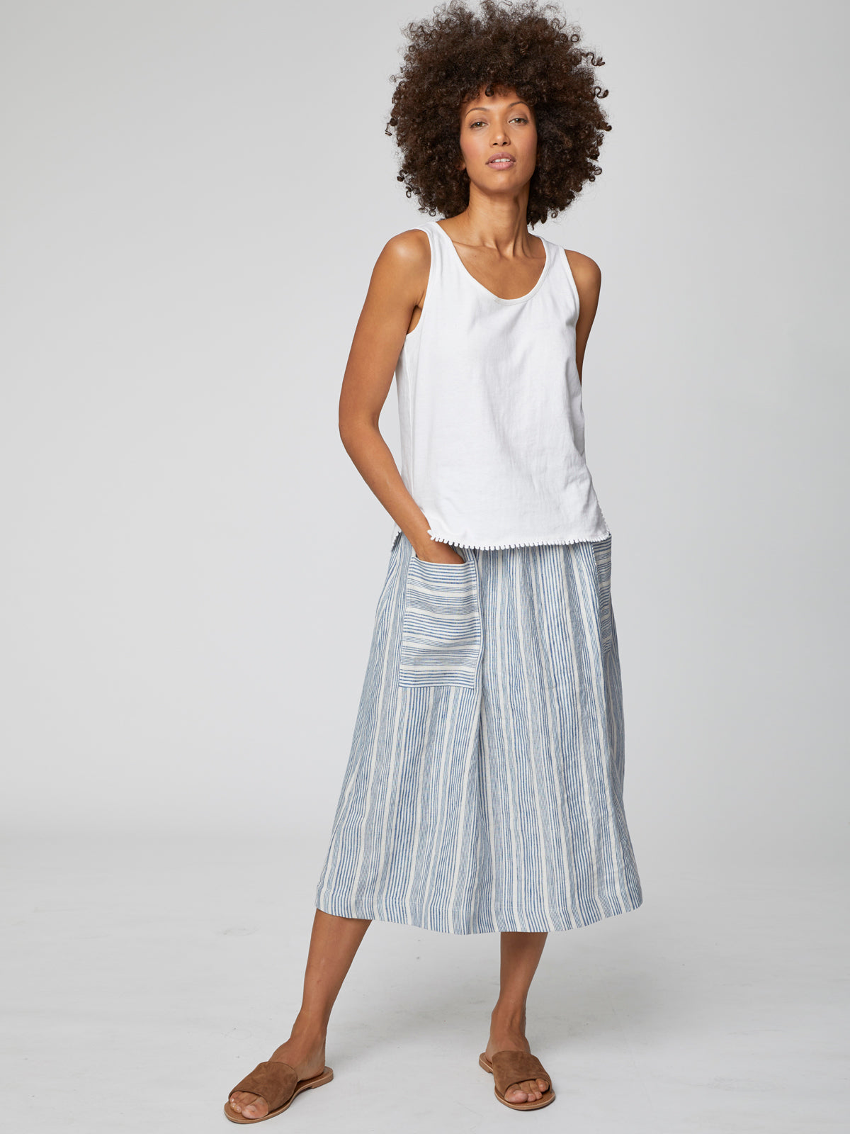 Thought Luis Striped Skirt for Ladies in Oat White