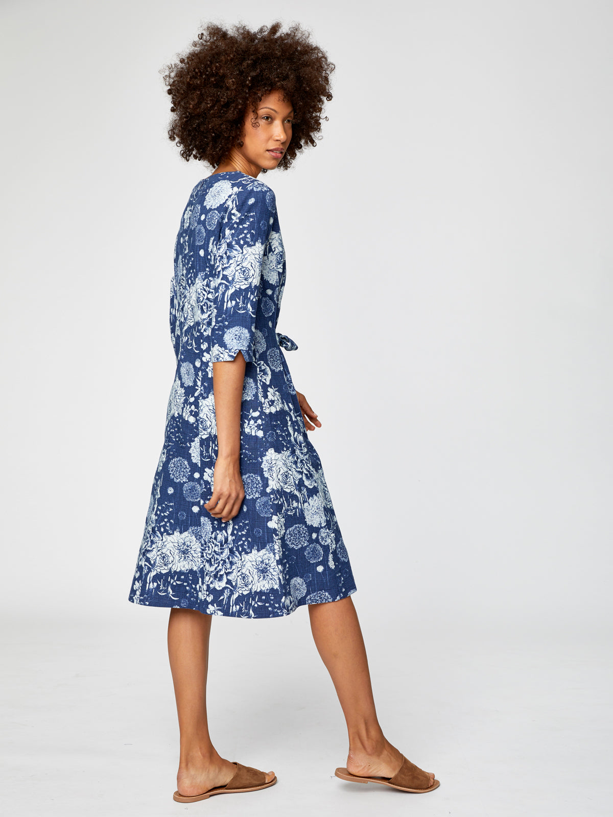 Thought Kikii Printed Dress for Ladies in Ocean Blue