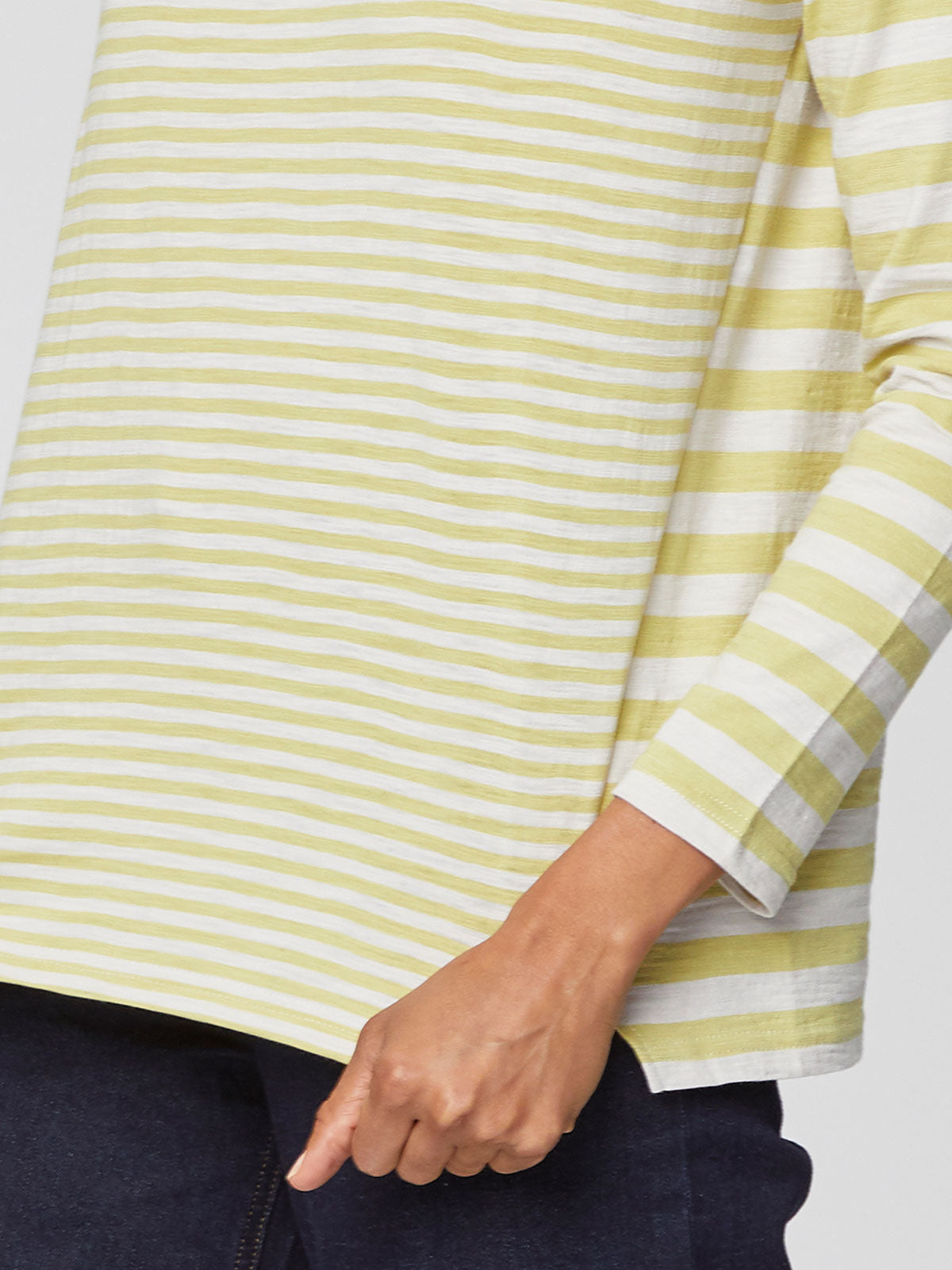 Thought Stripey Tee for Ladies in Cactus Green