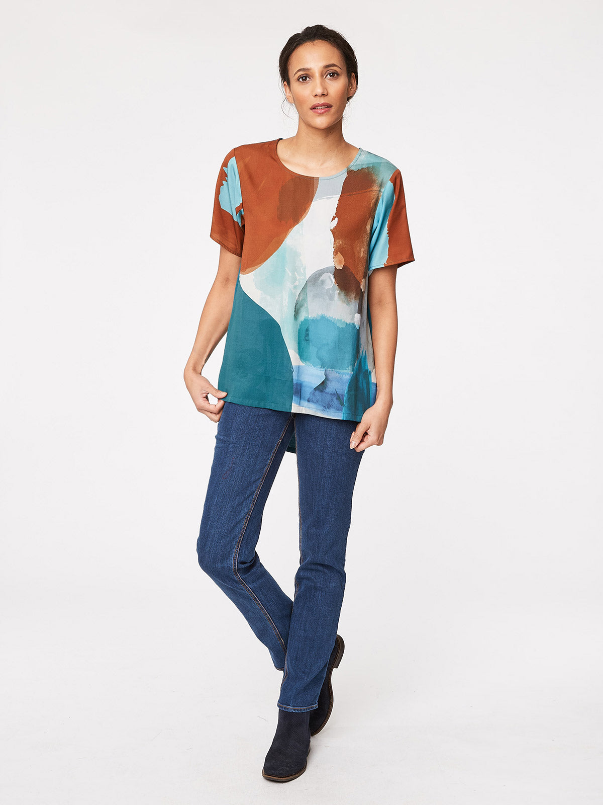 Thought Ansel Top for Ladies in Brushstroke Print