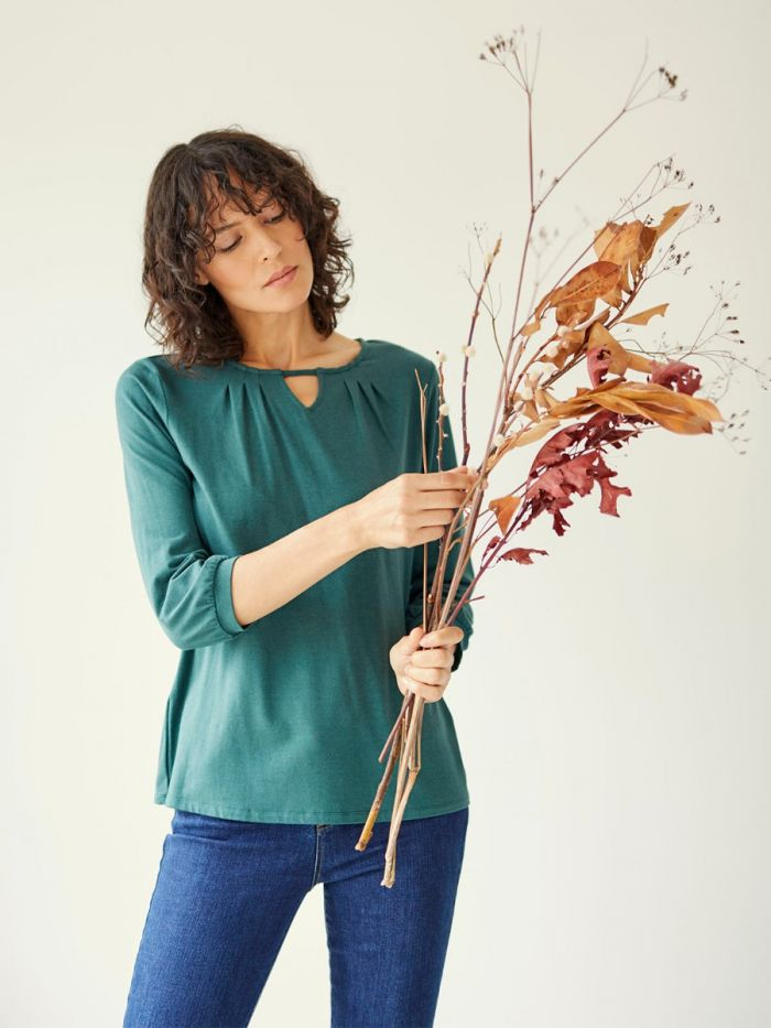 Thought Sigrun Blouse for Ladies in Deep Teal Green