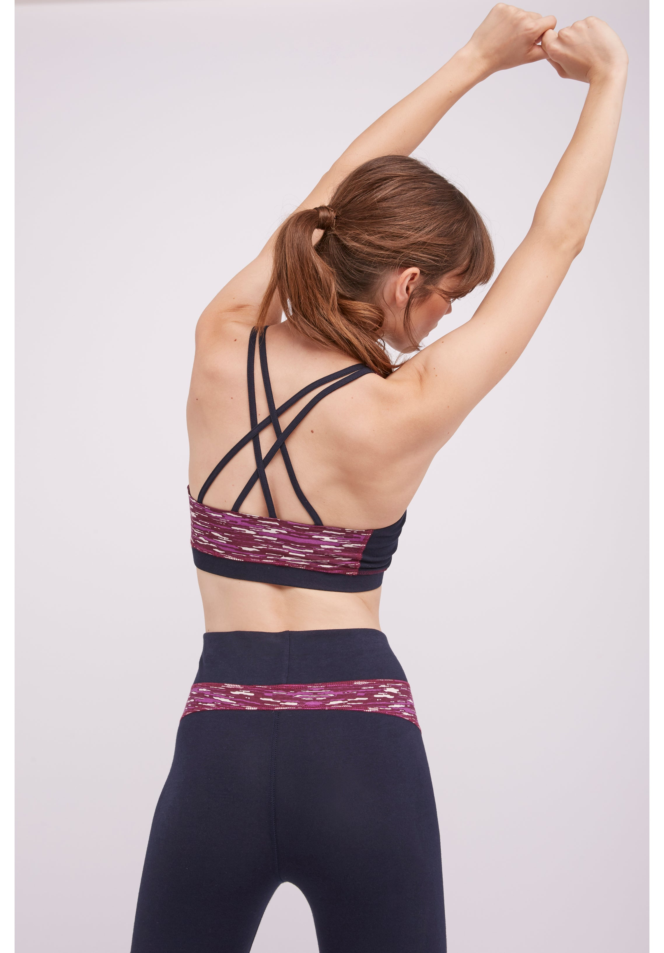 People Tree Yoga Abstract Cross Back Top for Ladies in Purple