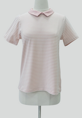 Striped Tee with Tweed Collar