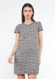 Multi-Colored Tweed Shift Dress