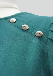 Blouse with Puffed Sleeves and Button Details
