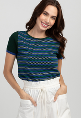 Zigzag and Regular Stripe Knit Top