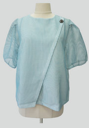 Overlapped Puff Sleeve Blouse with Special Button
