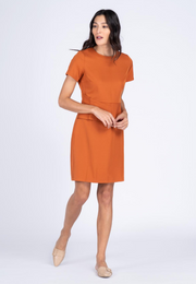 Plain Dress with Origami Peplum Detail