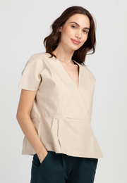 Loose V-neck Peplum Blouse
