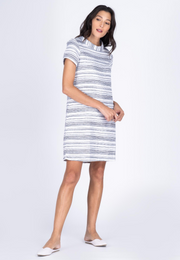 Stripe Tweed Cowl Collar Shift Dress