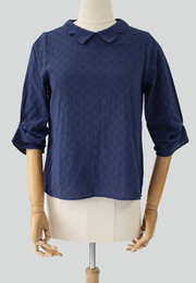 Textured Cotton Top with Twisted Sleeve Detail