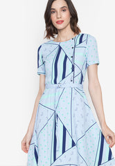 Geometrical A-Dress with Belt
