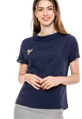 Standing Round Neckline Woven Top With Brooch Pin