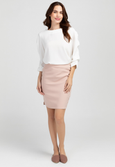Blouse with Ruched Volumized Sleeves