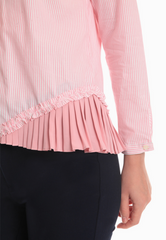 Striped Buttondown with Ruffled Hem