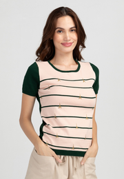 Two-tone Stripe and Eiffel Tower Print Knit Top