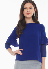 Top with Ruffled Sleeves