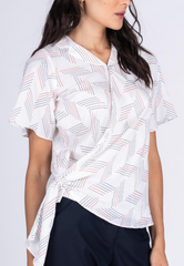 Side Tie-up Printed Blouse