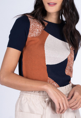 Abstract Tile Printed Knit Top
