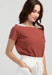 Square Neck Top with Crochet Lace Detail