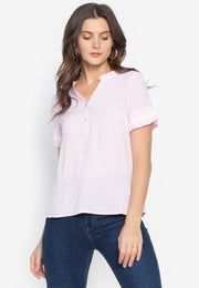 Plain Blouse with Pleated Cuffs