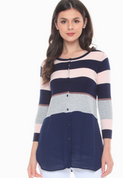 Flatknit-Chiffon Combi Top with Stripes Pattern