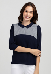 Collared Blouse with Tweed Yoke Combination