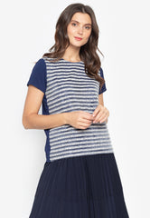 Short Sleeves Blouse with Tweed Stripes