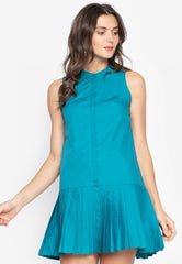 Casual Sleeveless Dress with Pleats