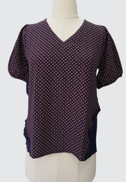 V-Neck Printed Blouse with Pleated Sides