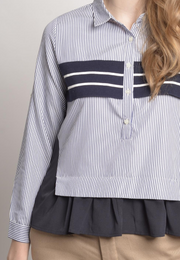 Striped Button down with Ruffle Details