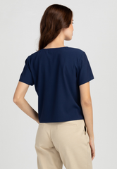 Boxy V-Neck Cropped Blouse