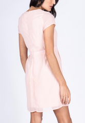 Plain Sheath Dress with Pleats and Draping Detail