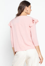 Top with Ruffled Shoulder Accent