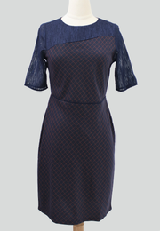Checkered Corporate Dress with Textured Chiffon Combination