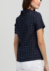 Printed Short Sleeve Blouse with Zipper Detail Collar