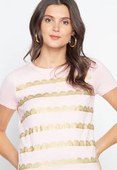 Flatknit Top with Gold Eyelet Print