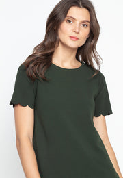 Plain Casual Top with Scallop Cut Sleeves