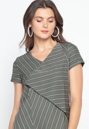 Casual Short Sleeves Dress with Woven Stripes