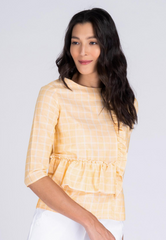 Ruffle Panel Linen Blouse