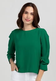 Round Neck Blouse with Ruched Volumized Sleeves