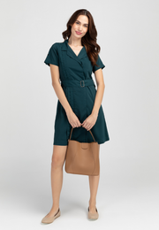 Short Sleeve Belted Trench Dress