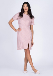 Printed Sheath Dress with Overlap Skirt