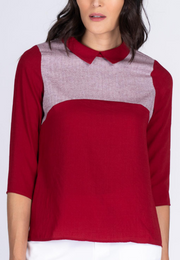 Collared Blouse with Contrast Bib