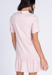 Plain Collared Shift Dress with Heart Pins