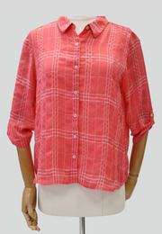 3/4 Soft Fabric Collared Blouse