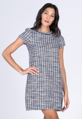 Tweed Shift Dress with Neck Piping