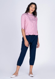 Collared Button Down Peplum Blouse
