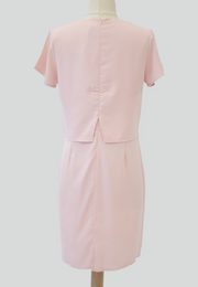 Layered Sheath Dress with Rose Brooch Pin