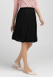 Side Pleated A-line Skirt
